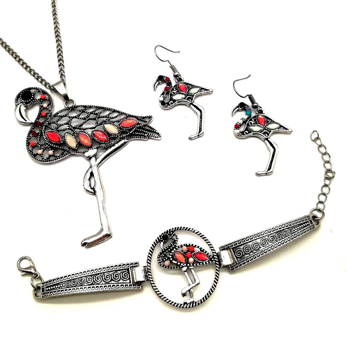 """Набор SONATA """"Фламинго"""" (кулон, браслет, серьги, цепочка), 73262                   (1)"""