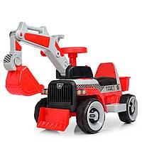 Трактор M 4144L-3 (1шт) 2в1(толокар), 1мотор25W, 1аккум6V4,5AH, муз, свет,кож.сиденье, красн