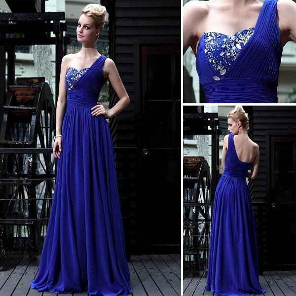 d2516f4ccf4 Вечернее платье синее на одно плечо пышная юбка натуральная ткань ...