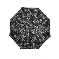Женский зонт полуавтомат с изображением буковок от фирмы Max, черный, 2004-5