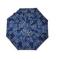 Женский зонт полуавтомат с изображением буковок от фирмы Max, темно-синий, 2004-1