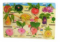 Деревянная игрушка Рамка-вкладыш THS-015 (Овощи-фрукты)