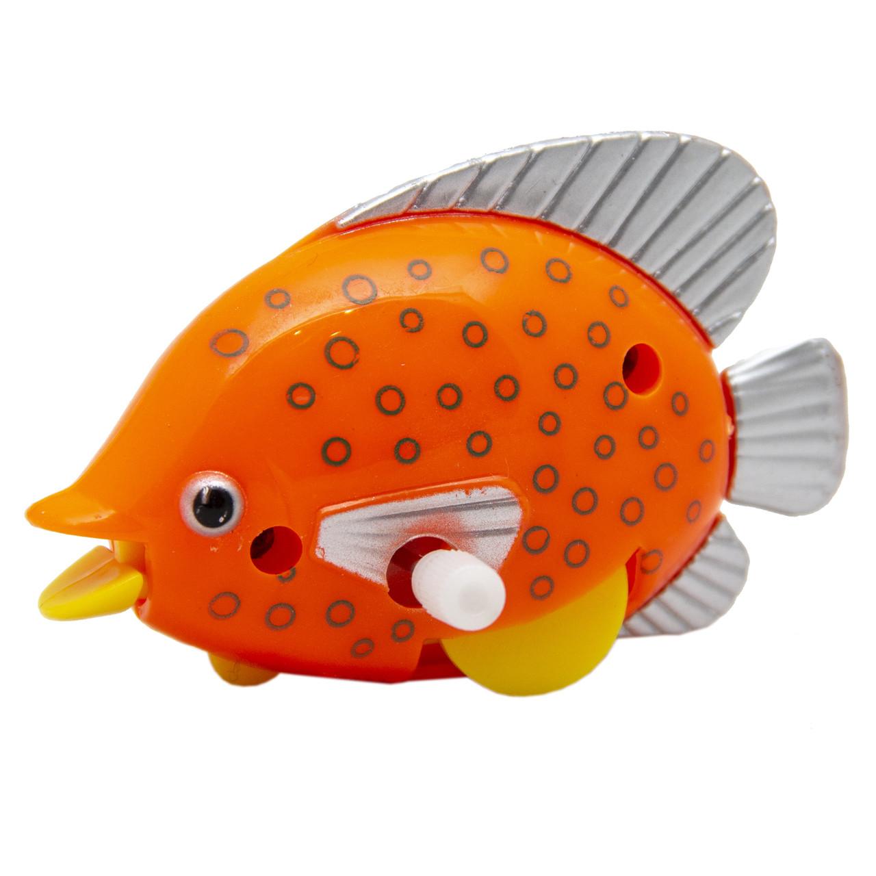 Іграшка заводна - рибка, 6,5 см, помаранчевий в горошок, пластик (8031A-3-5)