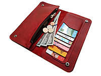 Кожаный женский кошелек Ручная работа красный