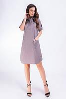 Платье-рубашка коттон  арт. 831 цвет пепельный беж в горох