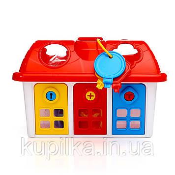 Сортер DOLU Счастливый домик c дверцами на ключике (5097)