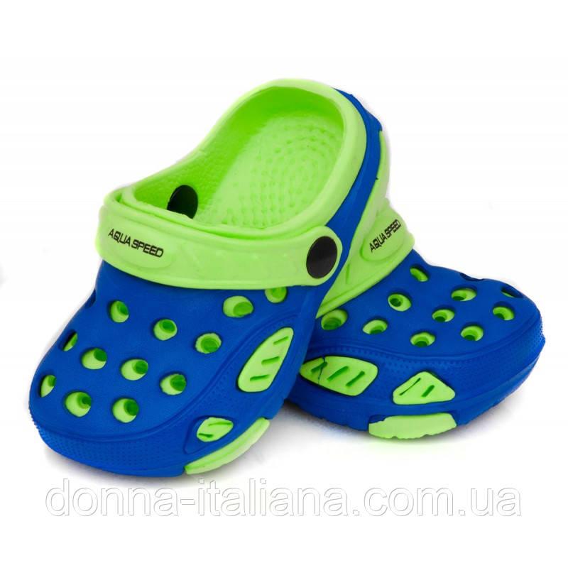 Сабо дитячі пляжні Aqua Speed Lido 18 Синьо-зелені (aqs110)