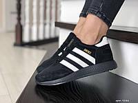 Женские кроссовки в стиле Adidas INIKI, сетка, замша, черные с белым, 37р(23,5 см), в наличии:37,38,41