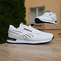 Мужские кроссовки в стиле Reebok Classic, кожа, белые с черным, 42р(26,5 см), размеры:42,43,44,45,46