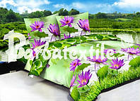 Постельное полуторное белье Ранфорс салатового цвета