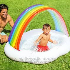 """Детский надувной бассейн Intex """"Радуга-Облако"""" с навесом для малышей, 57141, 142*119*84см"""