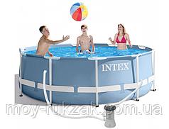 Бассейн каркасный круглый Prism frame pool, Intex 26706 NP, лестница и насос в комплекте, 305*99см