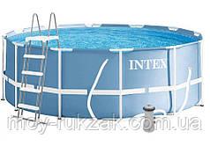 Бассейн каркасный круглый Prism frame pool, Intex 26718 FR, лестница и фильтр-насос в комплекте, 366*122см