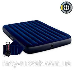 Матрас надувной Intex Classic Downy Airbed Fiber-Tech, 64765, ручной насос и 2 подушки в комплект 203*152*25см