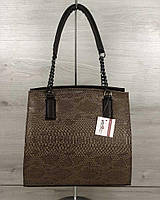 Каркасная женская сумка Welassie Адела Рептилия Коричнево-кофейная (65-32105)