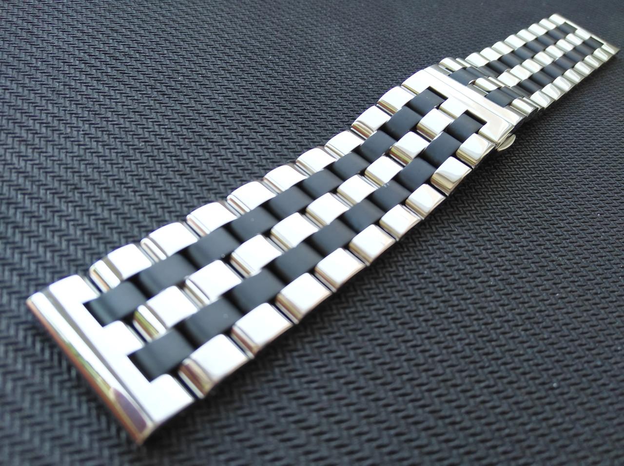 Браслет комбинированный для часов из нержавеющей стали 316L. Прямое/заокругленное окончание. Глянец/мат. 22 мм