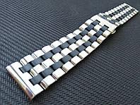 Браслет комбинированный для часов из нержавеющей стали 316L. Прямое/заокругленное окончание. Глянец/мат. 22 мм, фото 1