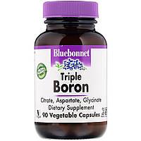 Тройной бор 3мг, Bluebonnet Nutrition, Triple Boron, 90 вегетарианских капсул