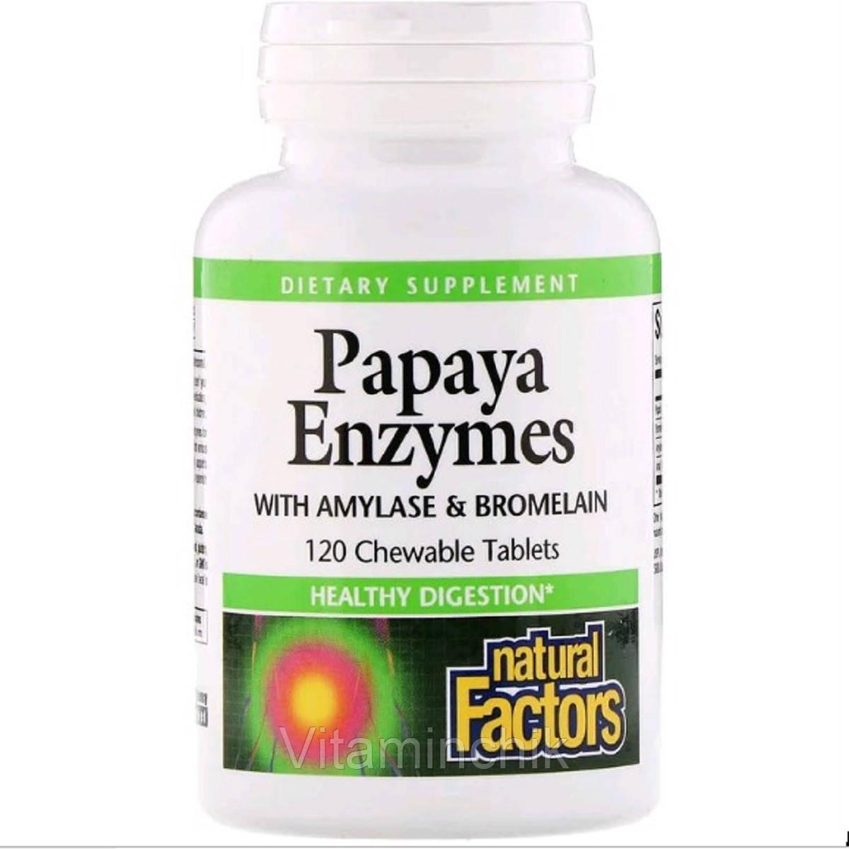 Энзимы Папайи, Papaya Enzymes, Natural Factors, 120 Таблеток