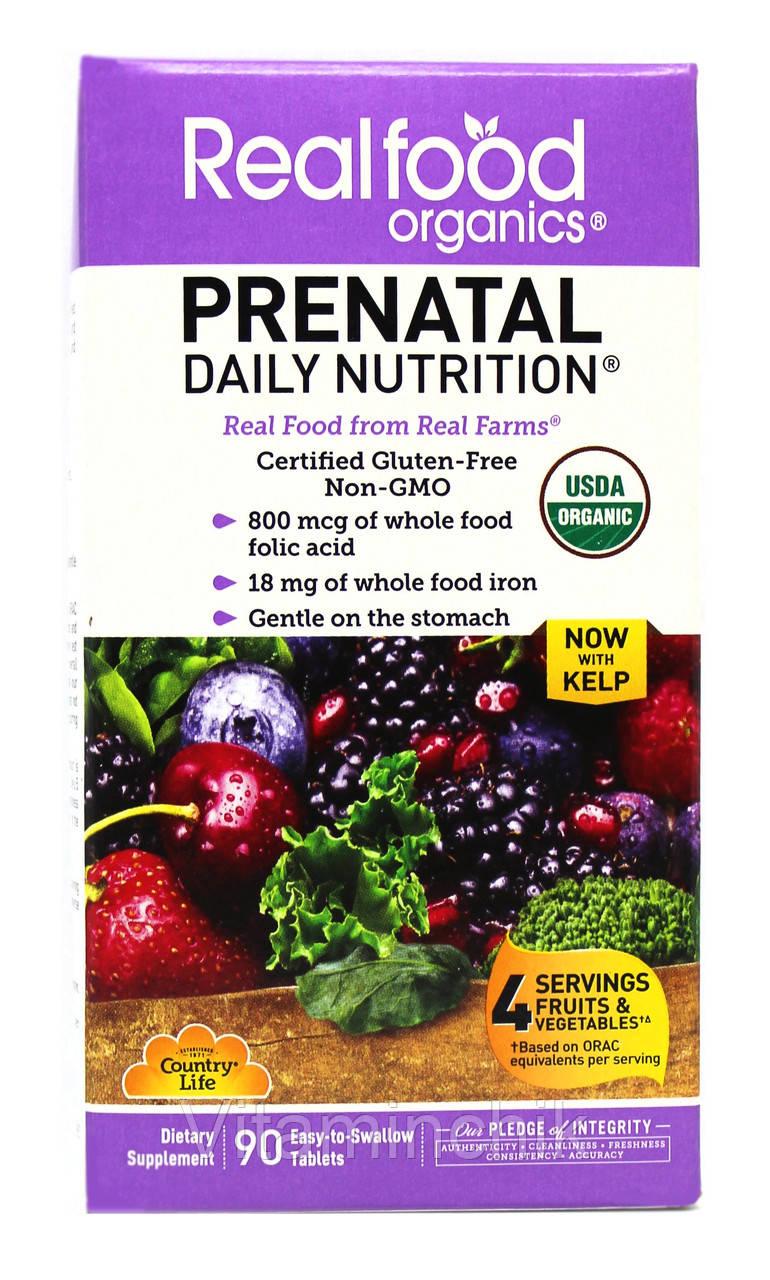 Органические Мультивитамины для Беременных, Prental Daily Nutrition, Country Life, 90 таблеток