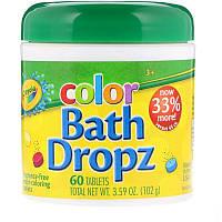 Crayola, Цвет, Bath Dropz, Цветные таблетки для окрашивания воды, для детей и взрослых  60 таблеток