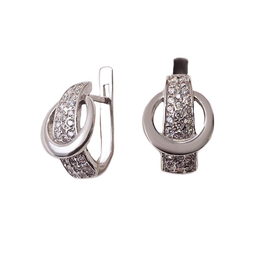 Серьги из серебра 925 пробы с покрытием из родия «Застежка» с фианитами  арт. Р2184