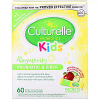Culturelle, Kids, Regularity Probiotic + Fiber, Unflavored, 60 Single Serve Packets
