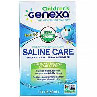 Genexa, children's Saline Care, Organic Nasal Spray & Dropper, Ages 2+, 1 fl oz (30 ml)