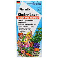 Flora, Floradix, Kinder Love, детская мультивитаминная добавка, без глютена, 8,5 ж. унц. (250 мл)
