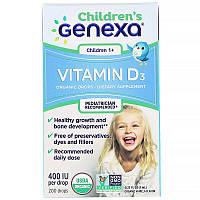 Genexa, Дитячий вітамін D3, для дітей віком 1+, органічний ванільний ароматизатор, 400 МО, 7 мл (0.23 рідин та си. унції)