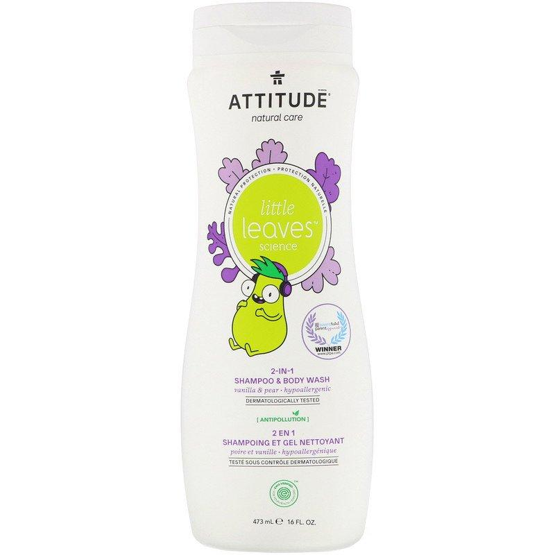 ATTITUDE, Little Leaves Science, шампунь і гель для душу 2 в 1, ваніль і груша, 473 мл