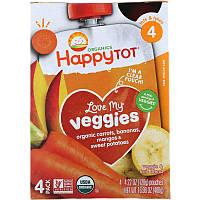 Happy Family Organics, 'Обожаю свои овощи' из серии 'Счастливый карапуз', органическая фруктово-овощная смесь c морковью, бананом, манго и бататом, 4
