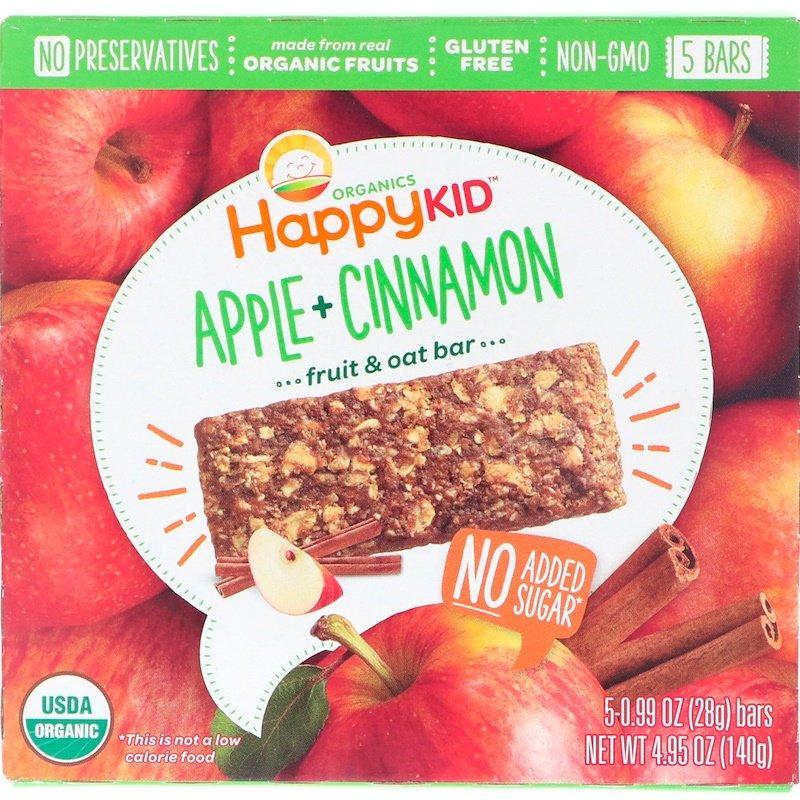 Happy Family Organics, Happy Kid, Яблоко + корица, Батончик с фруктами и овсом, 5 баточников, 0,99 унц. (28 г) каждый