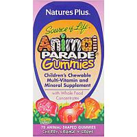 Nature's Plus, Source of Life, Animal Parade Gummies, Children's Chewable, Cherry, Orange & Grape, 75 Animal-Shaped Gummies