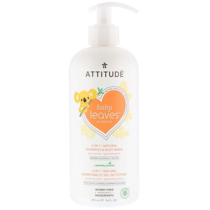 ATTITUDE, Baby Leaves Science, натуральний шампунь і гель для душу «2-в-1», грушевий нектар, 473 мл