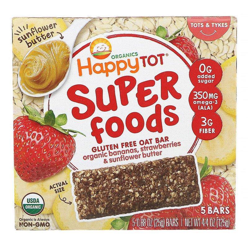Happy Family Organics, Organics Happy Tot, суперпища, безглютеновый овсяный батончик, органические бананы, клубника и подсолнечная паста,