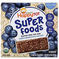 Happy Family Organics, Organics Happy Tot, суперпища, безглютеновый овсяный батончик, органическая голубика и овсянка, 5батончиков, 25г каждый