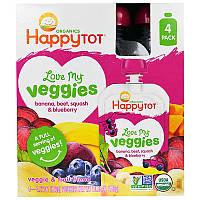 Happy Family Organics, 'Обожаю свои овощи' из серии 'Счастливый карапуз', фруктово-овощная смесь с бананом, свеклой, тыквой и черникой, 4 пакета по