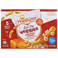 Happy Family Organics, Счастоивый малыш Organics, люблю мои овощи, мешочки с соломкой из нута, органический батат и размарин, 5 пакетов, 0,25 унции (7