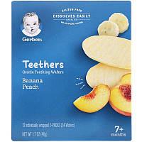Gerber, Органические грызунки, вафли для мягкого прорезывания зубов, персик банан 24 шт.