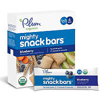Plum Organics, Батончики Mighty Snack, черника, 6 батончиков, каждый по 0.67 унц. (19 г.)
