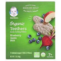 Gerber, Organic Teethers, Gentle Teething Wafers, 7+ Months, Blueberry Apple Beet, 1.7 oz (48 g)