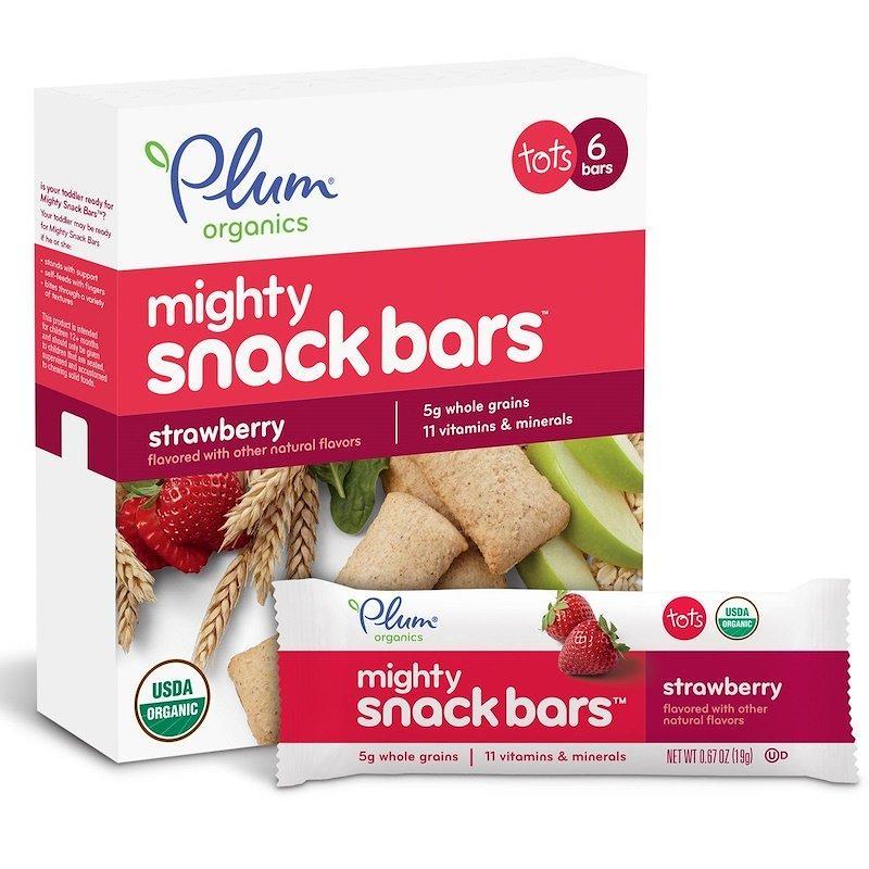 Plum Organics, батончики Mighty Snack Bars, полуниця, 6 батончиків, 0,67 унцій (19 м) кожен