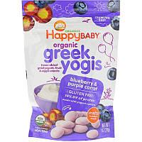 Happy Family Organics, Organic Greek Yogis, с голубикой и фиолетовой морковью, 28 г (1 унция)