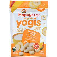 Happy Family Organics, Yogis, органические снеки из сублимированного йогурта с фруктами, банан и манго, 28 г