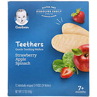 Gerber, Грызунки, вафли для мягкого прорезывания зубов, старше 7месяцев, клубника, яблоко и шпинат, 24шт., 48г (1,7унции)