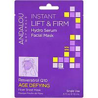 Andalou Naturals, Мгновенный и надежный лифтинг, увлажняющая сыворотка для лица, защита от старения - все в одноразовой маске с волокнистой салфеткой,