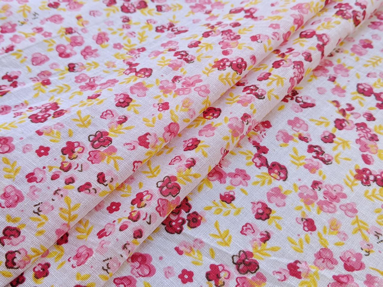 Коттон рисунок мелкие цветочки, желто-бордовые