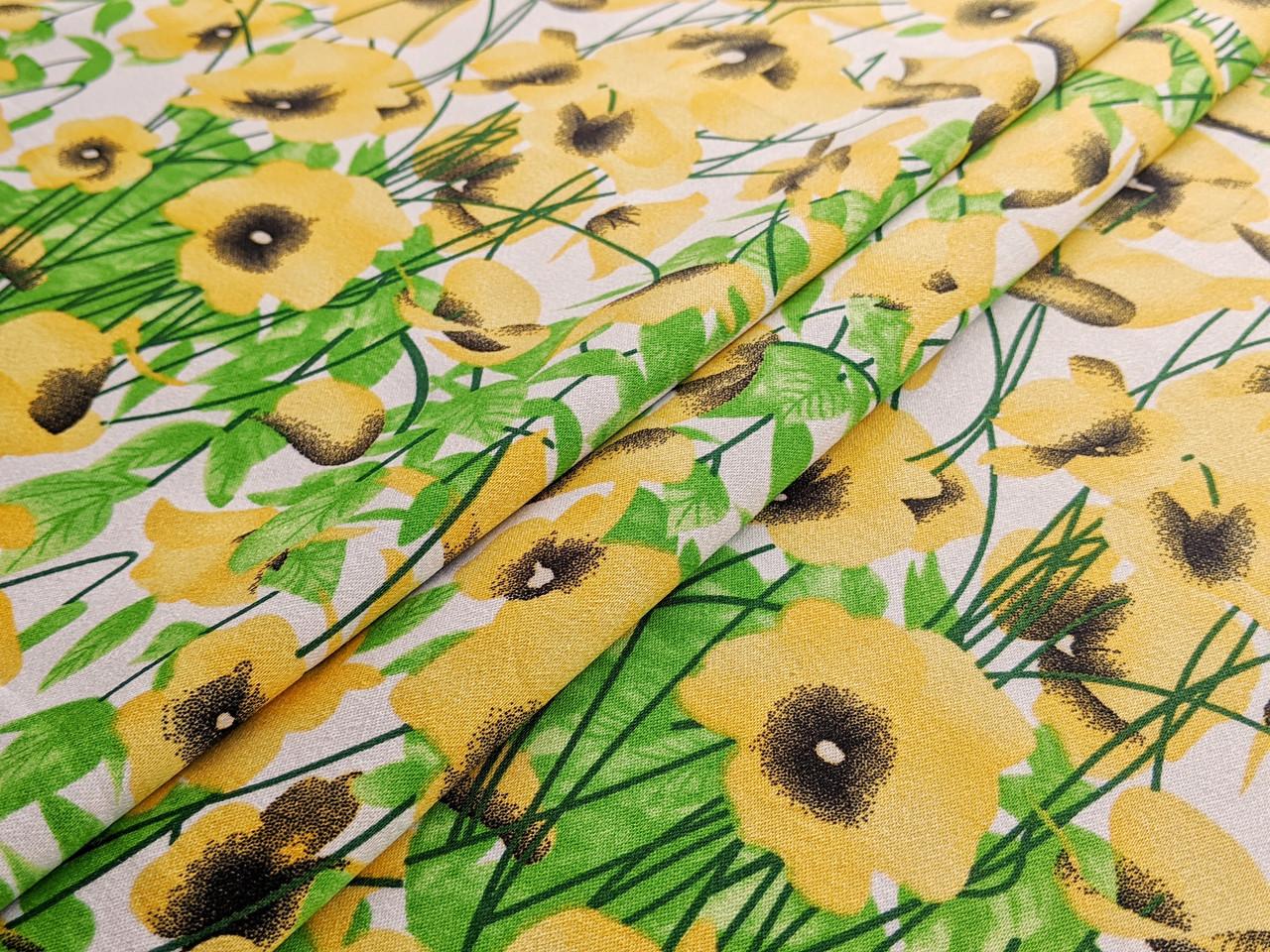 Коттон сатин принт цветы на поляне, желтый