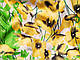 Коттон сатин принт цветы на поляне, желтый, фото 3